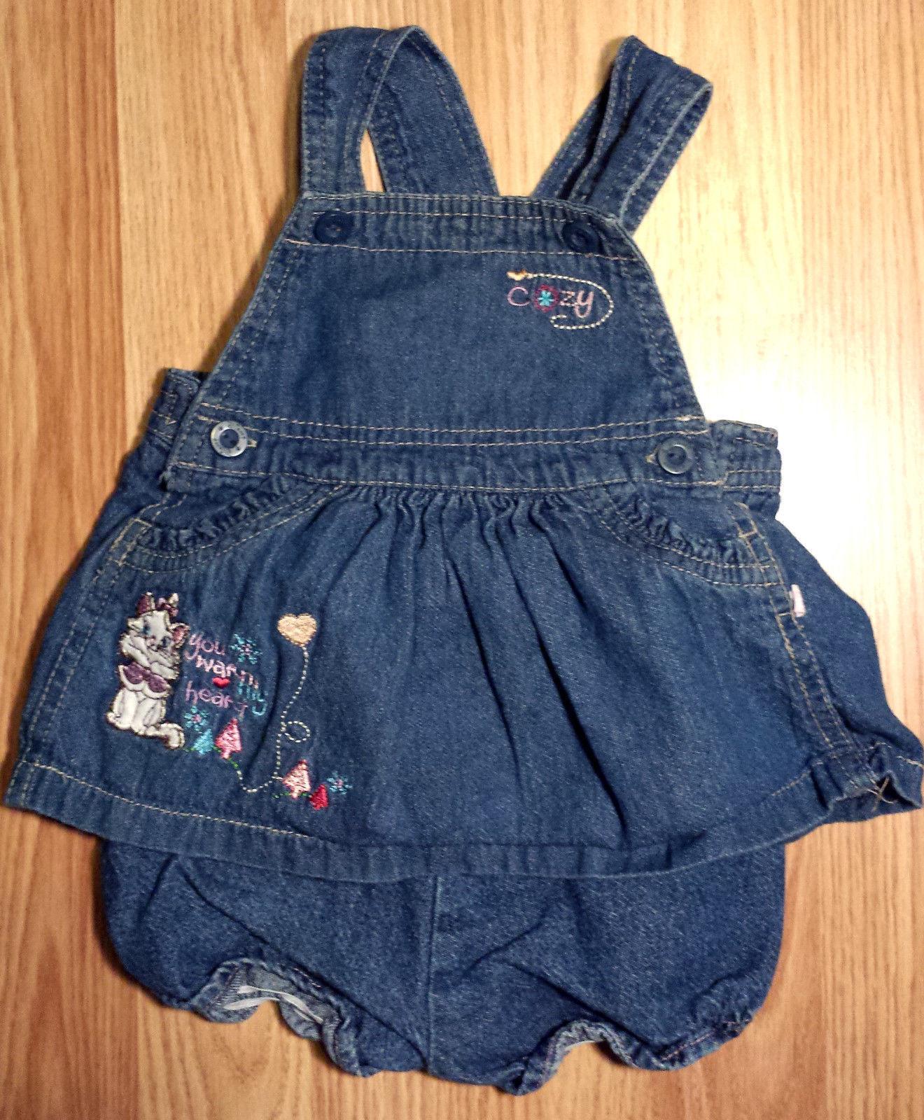 Girl's Size 3-6 M Months Two Piece Blue Denim Aristocats Dress & DC Set Disney