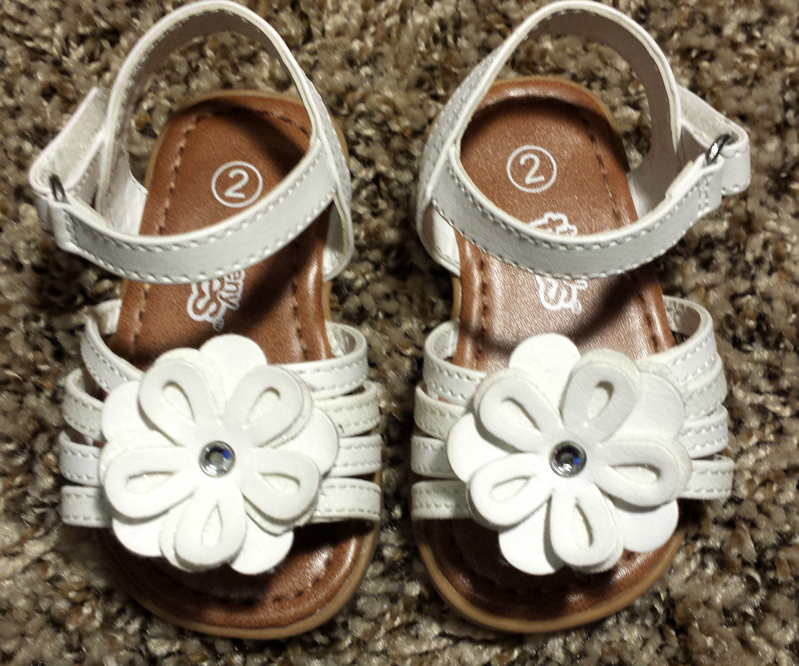 Girl's Size 2 White Floral Glitter & Rhinestone Teeny Toes Baby Toddler Sandals