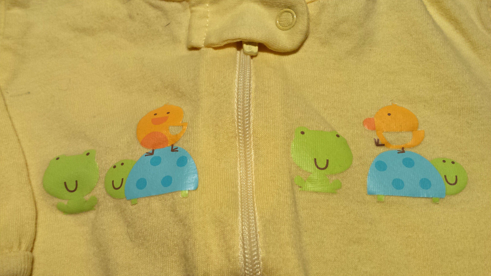Boy's or Girl's Size 0-3 M Months Gerber Yellow Turtle, Duck, Frog Footed Pajama
