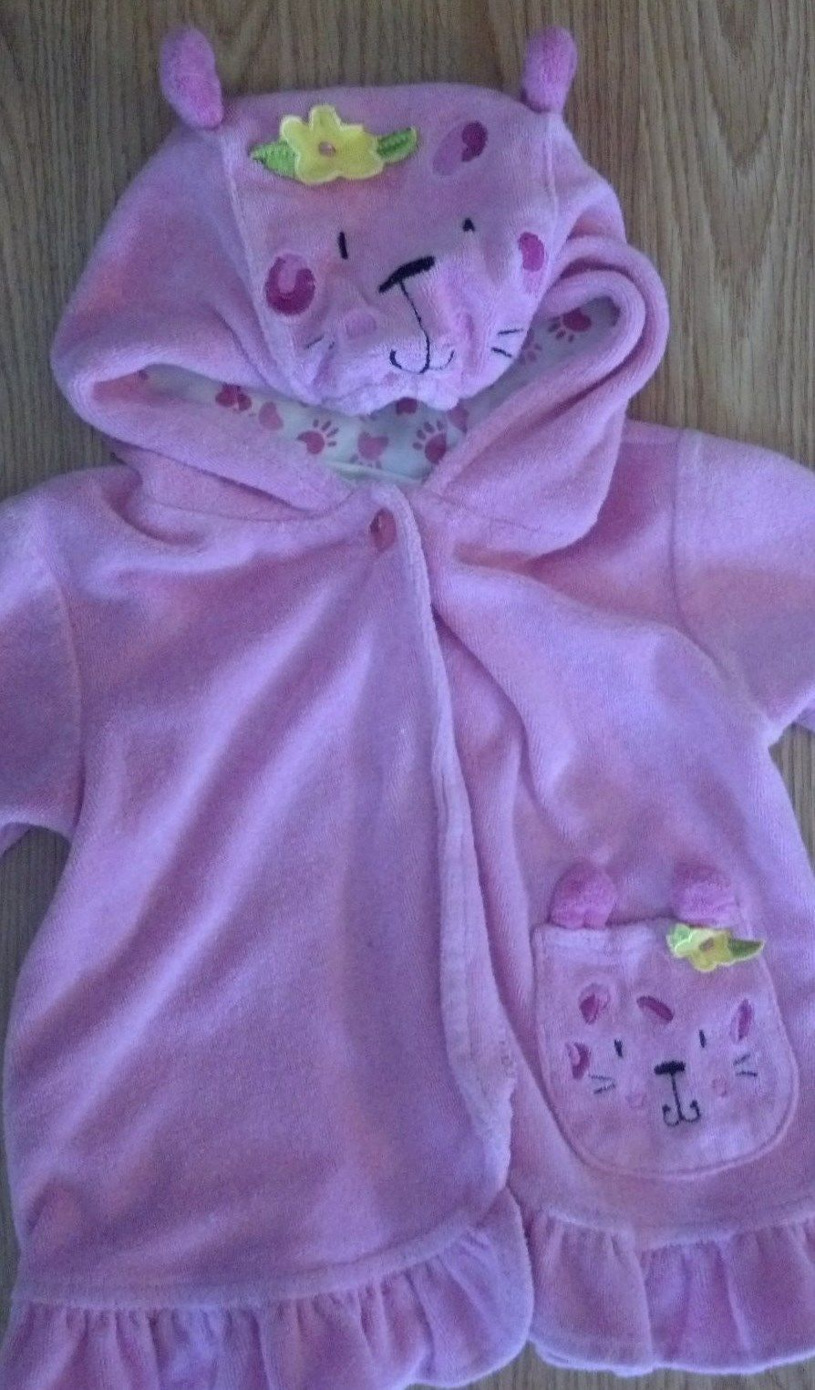 Girl's Size 12 M Months Pink Terry Kitten Embroidered Hooded Swim Robe Towel