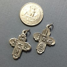 Four Way Cross Crucifix Jesus Catholic Religious Italian Pendant Medal 1 Inch - $8.99