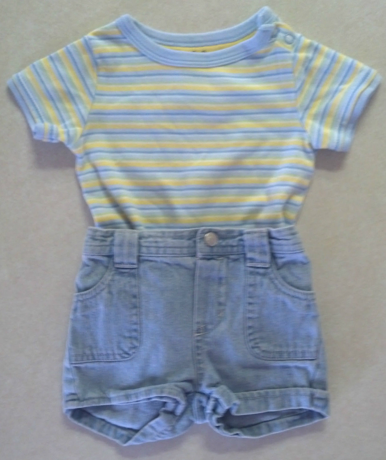 Girl's or Boy's Sz 0-3 M Months Two Piece Outfit Blue Striped Top & Jean Shorts