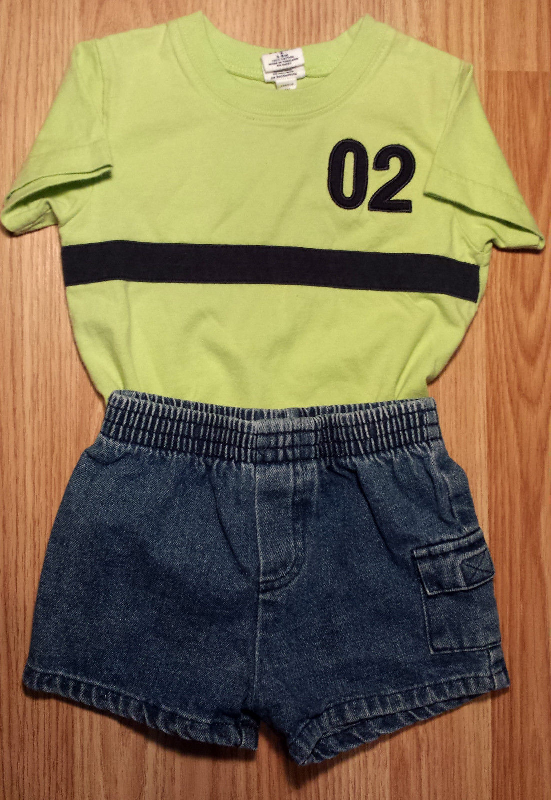 Boy's Size 3-6 M Months 2 Pc Green Baby Gap S/S Top + Denim Pocketed Shorts