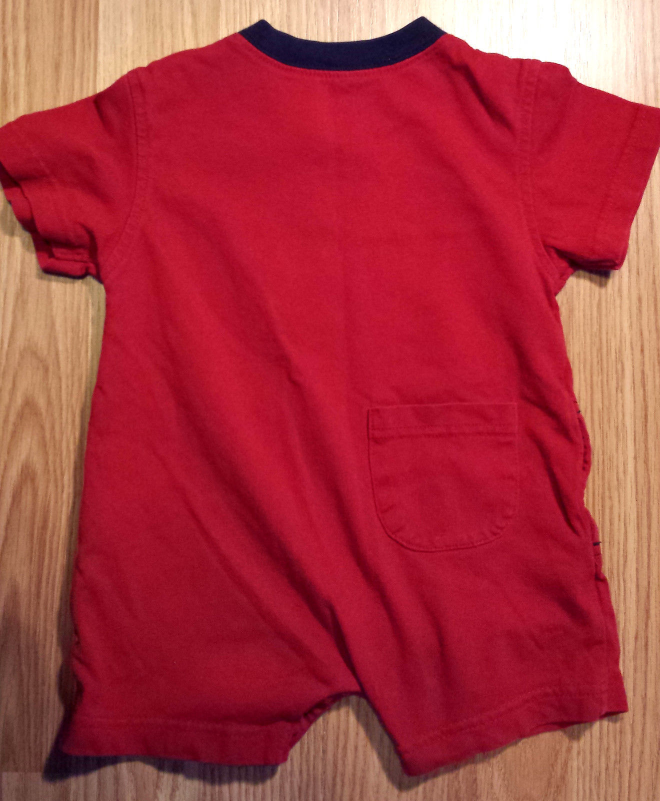 """Boy's Size 6M 3-6 Months One Piece Carter's Outfit Red """"Superhero"""" Puppy Romper"""