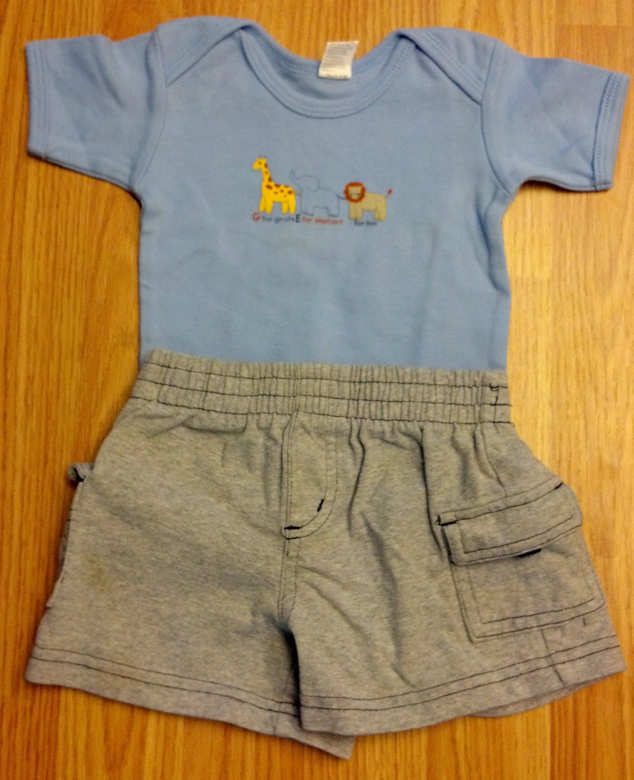 Boy's Size 0-3 M Months 2 Piece Blue Giraffe, Elephant & Lion Top & Gray Shorts