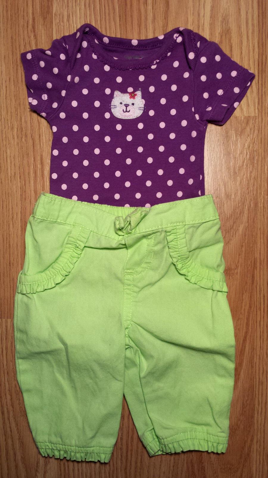 Girl's Size NB Newborn 3 Piece Purple Carter's Polka Dot Kitten Top, Pants Socks