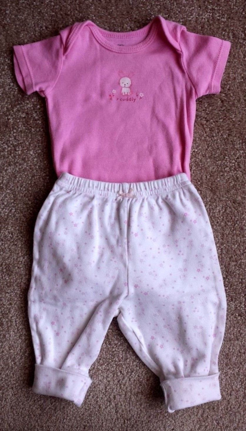 Girl's Size 0-3 M Months Two Piece Carter's Pink Cuddly Bunny Top & Floral Pants