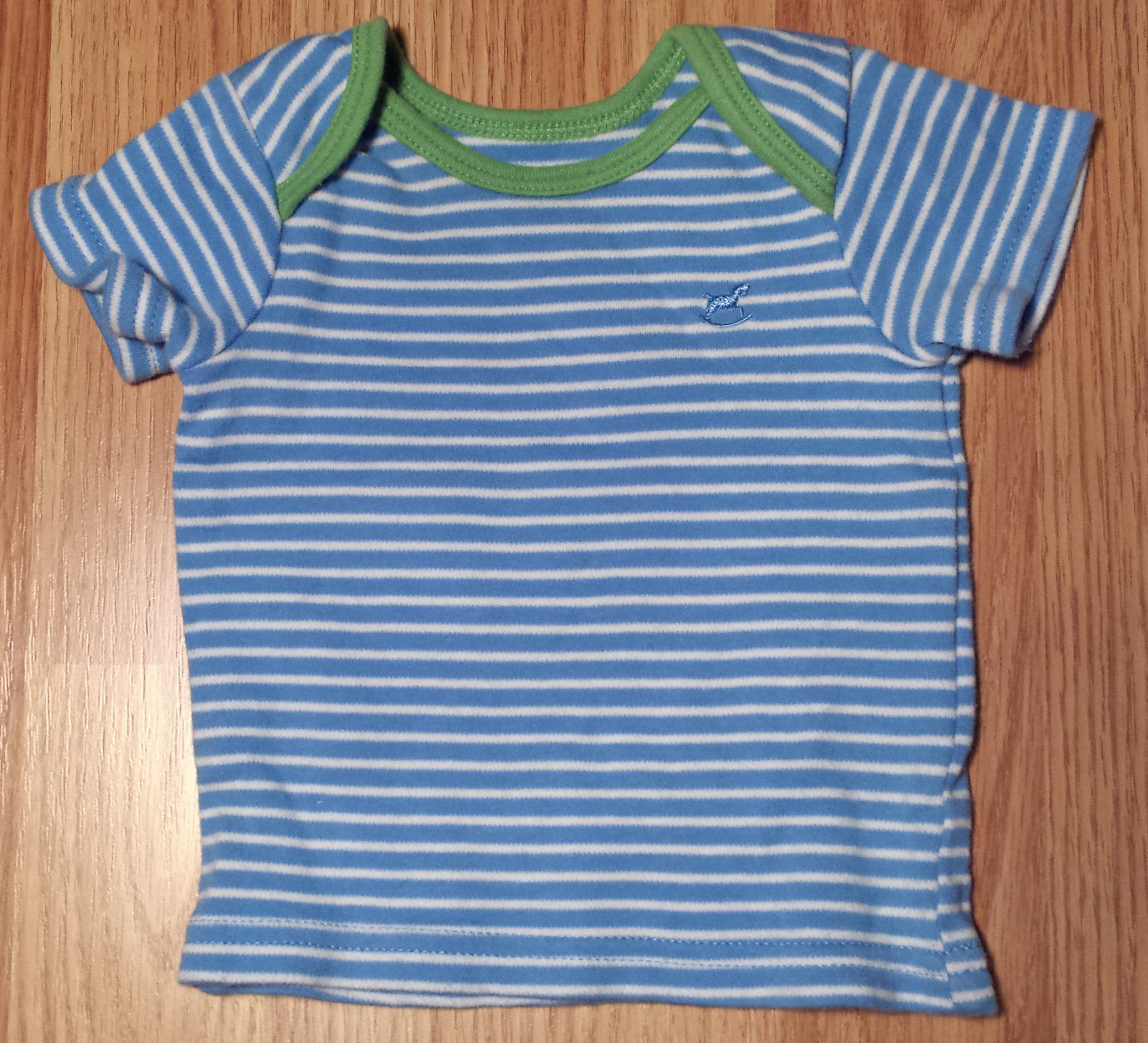 Boy's Size NB Newborn Two Piece Faded Glory Blue/ White Striped Top & Shorts