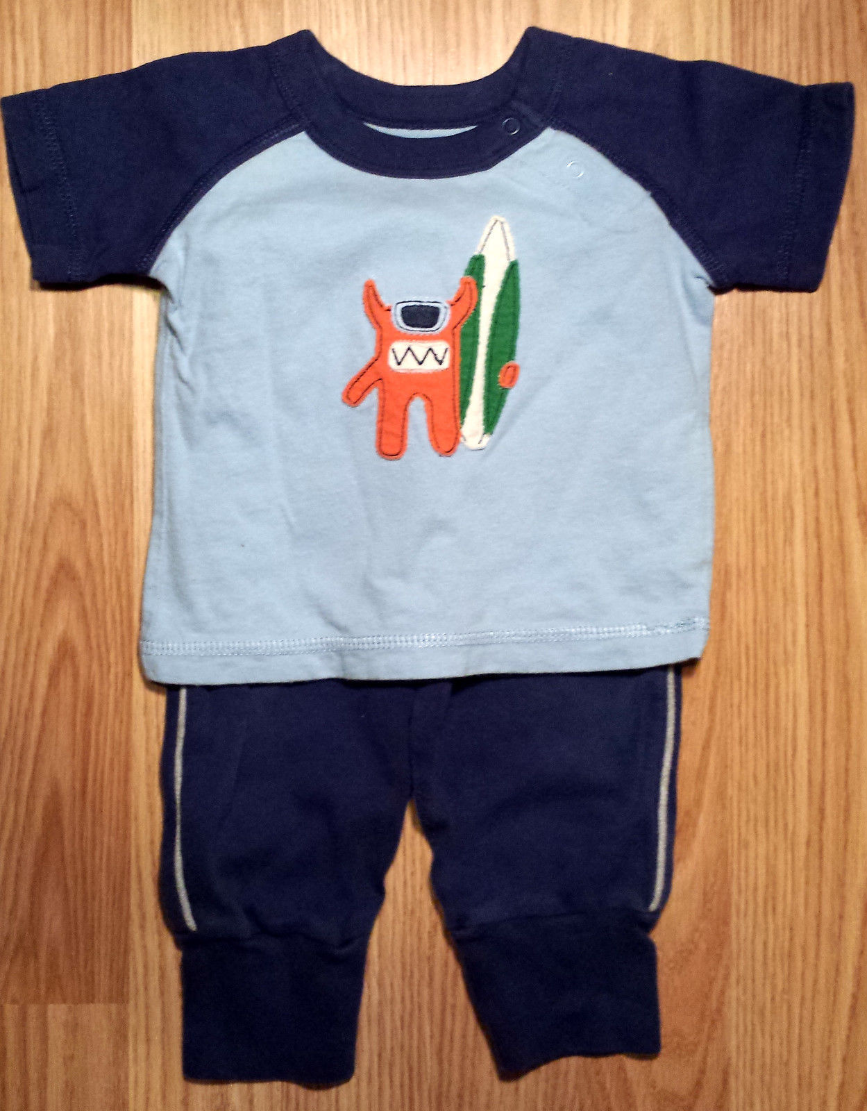 Boy's 3-6 M Months 2 Piece Blue Baby Gap Monster Surfing Top & Carter's Pants
