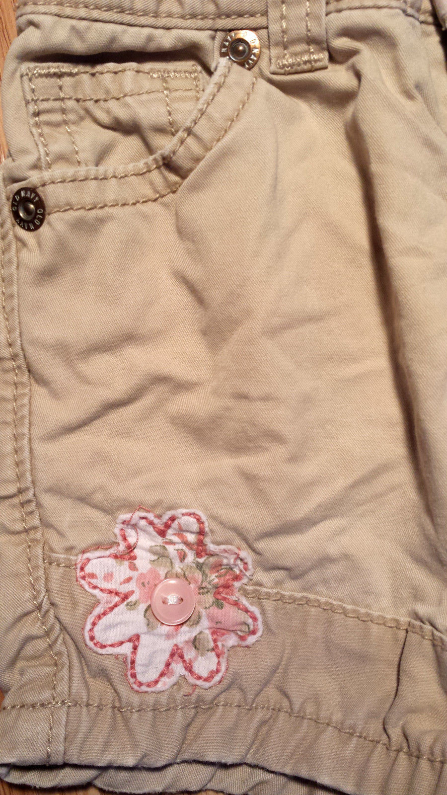 Girl's Size 12 M Months 2 Pc Off White Cherokee Glitter Owl Top, Old Navy Shorts
