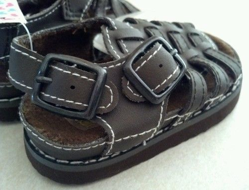 Baby Girl's Size 2 Infant Toddler Brown Sandals By Small Steps Fits 3 to 6 Month
