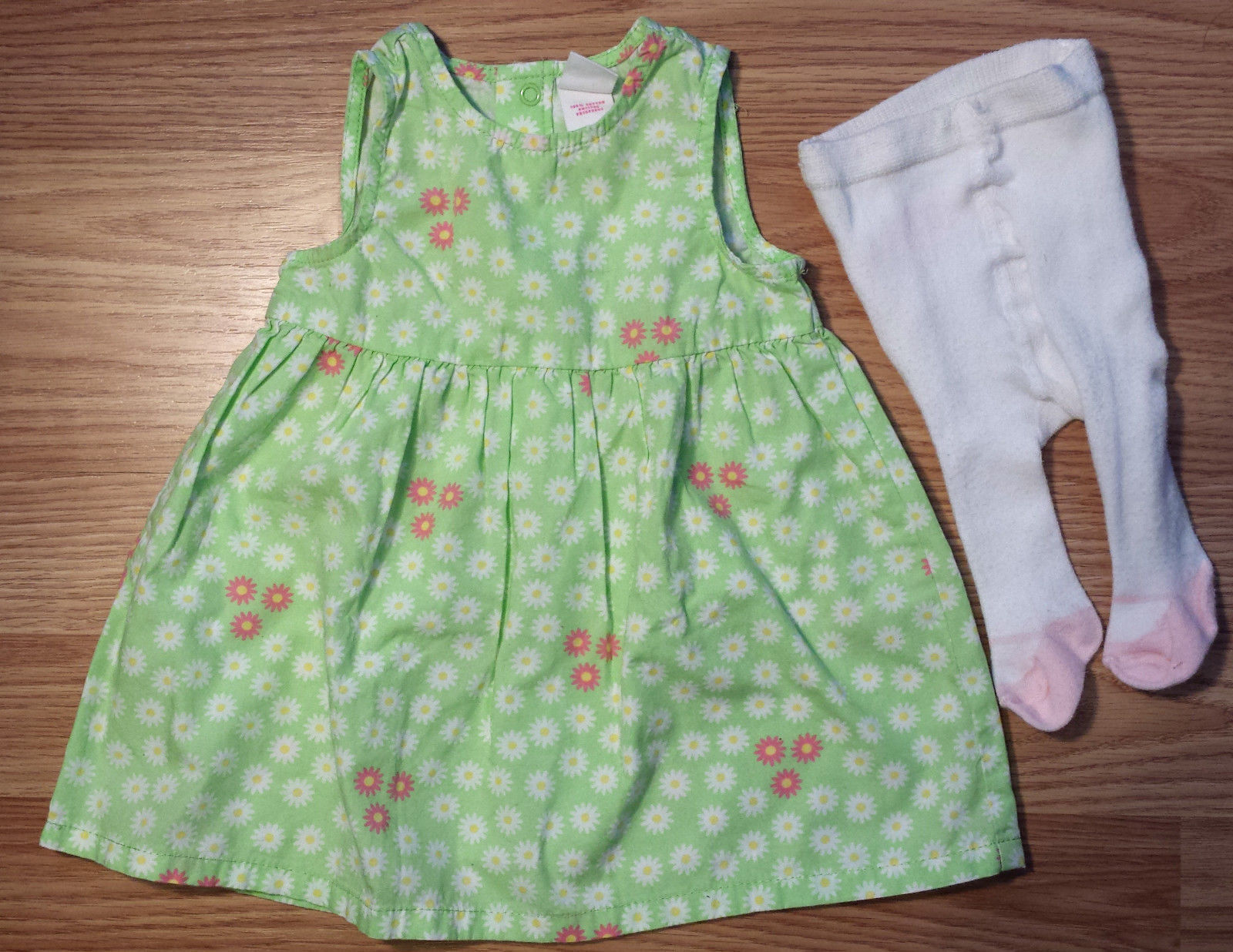 Girl's Size 3 M Month Two Piece Circo Green Floral Dress & White Carter's Tights