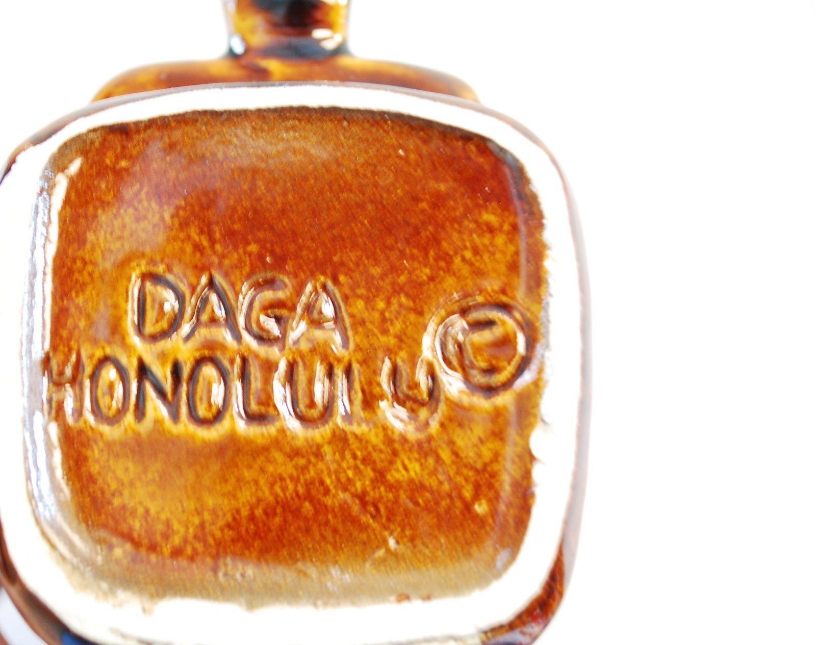 "VINTAGE GOLF BAG TIKI MUG BY DAGA HONOLULU HAWAII - BROWN GLAZE - 5 3/4"" TALL"