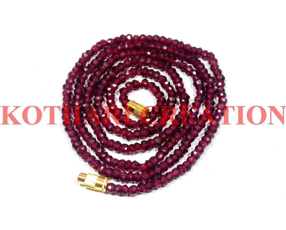 """NATURAL INDIAN GARNET STONE 3-4MM RONDELLE FACET BEADS 18"""" LONG BEADED NECKLACE"""