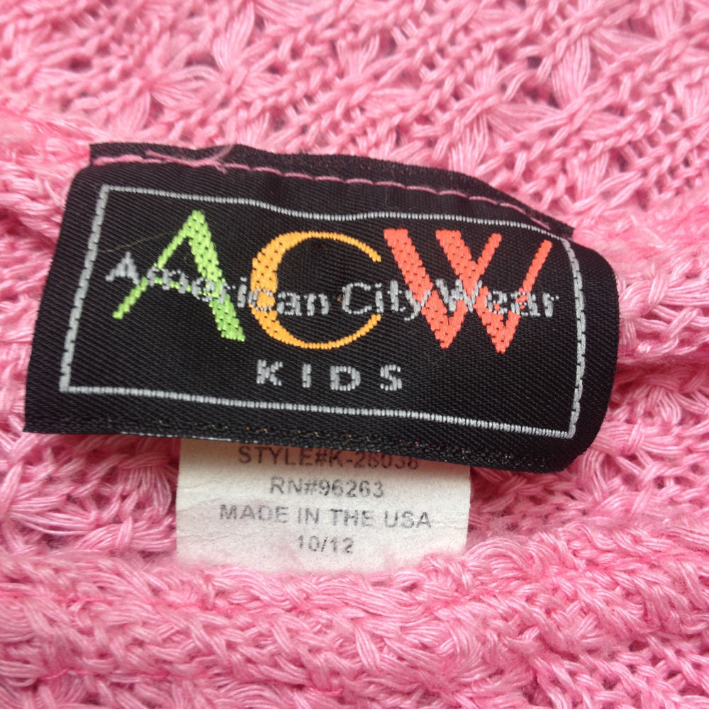 American City Wear Girls 10/12 Poncho Pink Crochet Lightweight ACW Kids