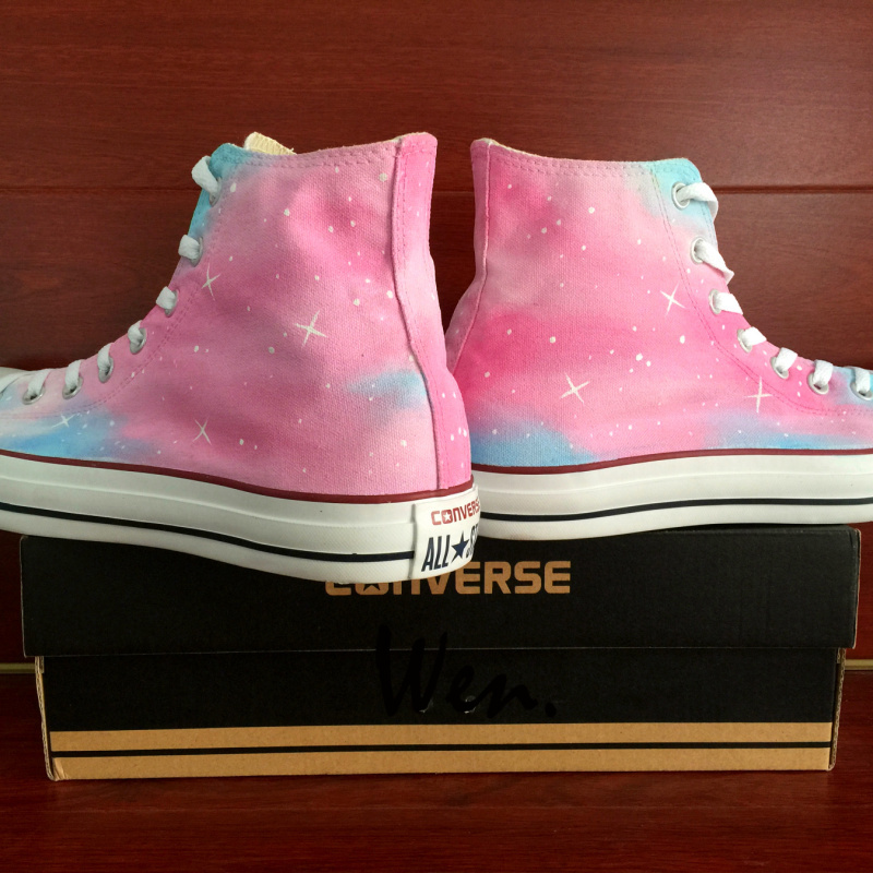 Pink Converse All Star Galaxy Design Hand Painted Shoes Men Women's Sneakers