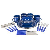 Stansport Enamel Camping Tableware Set - 24 Pieces - Blue - $23.99