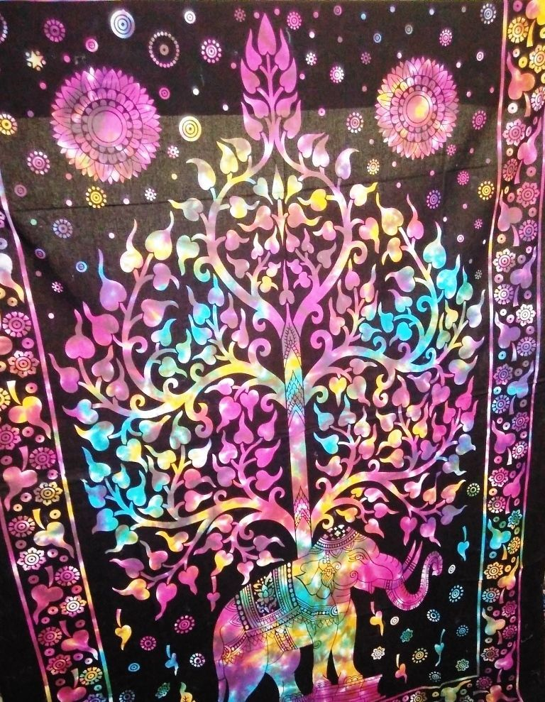 Twin Tree of Life Tapestry Indian Elephant Wall Hanging Tie Dye Decor HippyThrow