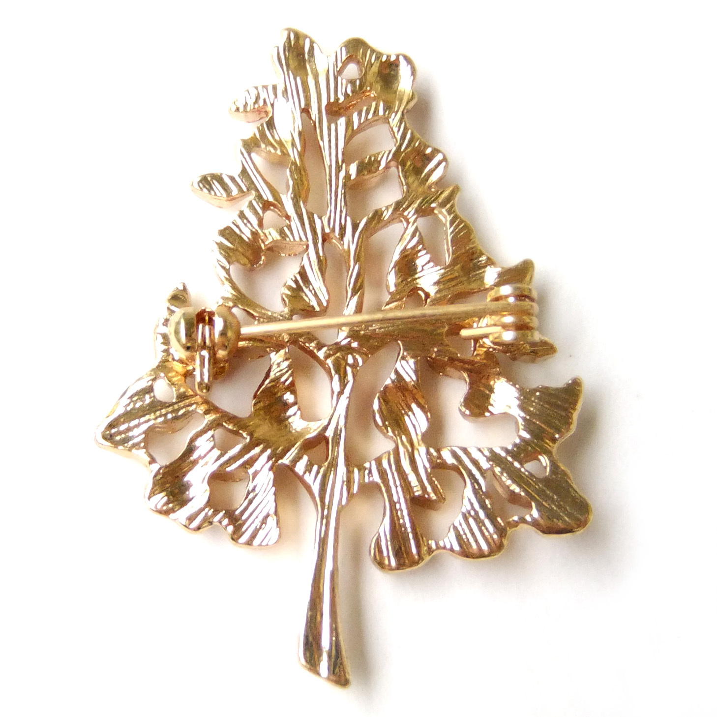 Xmas Tree Pear Red Fruit Bell Green Leaf Peaceful Lovely Vintage Fun Brooch Pin