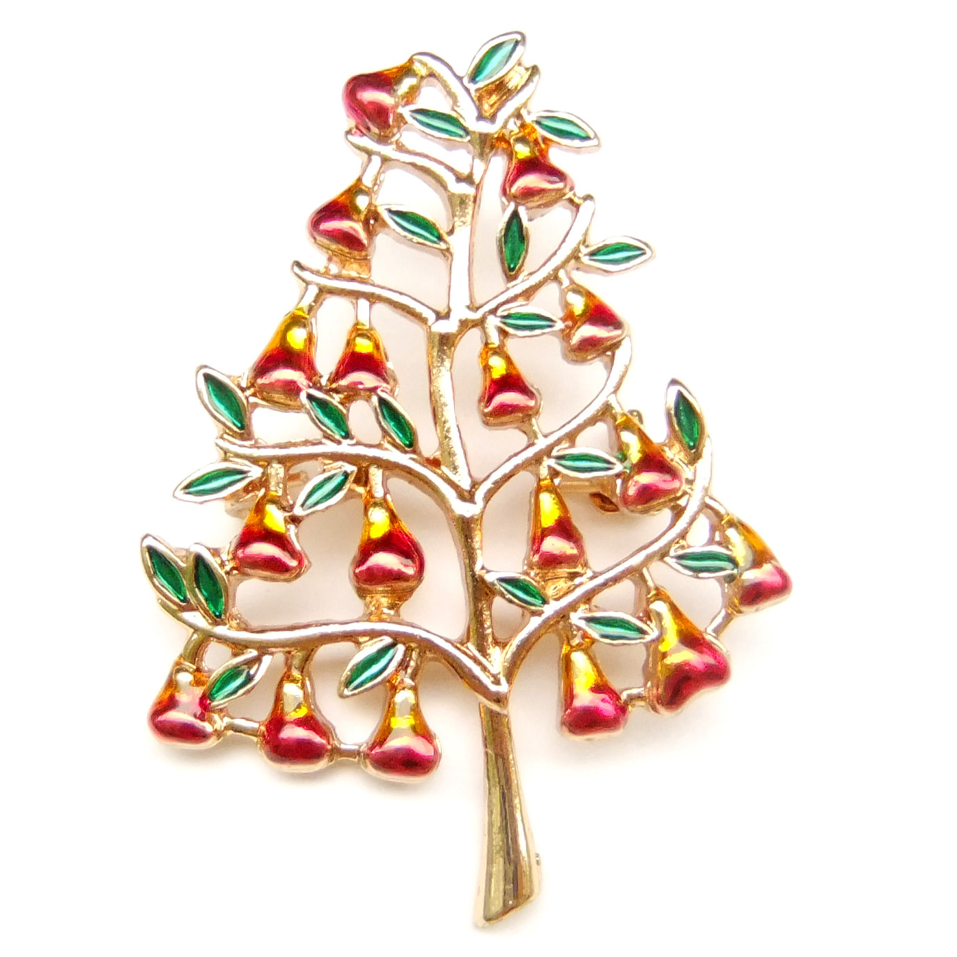 Primary image for Xmas Tree Pear Red Fruit Bell Green Leaf Peaceful Lovely Vintage Fun Brooch Pin
