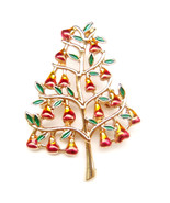 Xmas Tree Pear Red Fruit Bell Green Leaf Peaceful Lovely Vintage Fun Bro... - $9.99