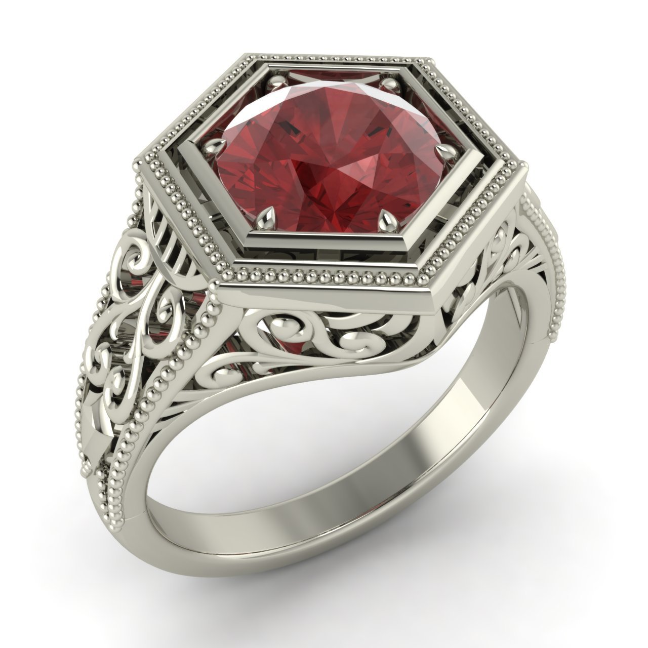round garnet solitaire engagement ring in deco style in. Black Bedroom Furniture Sets. Home Design Ideas