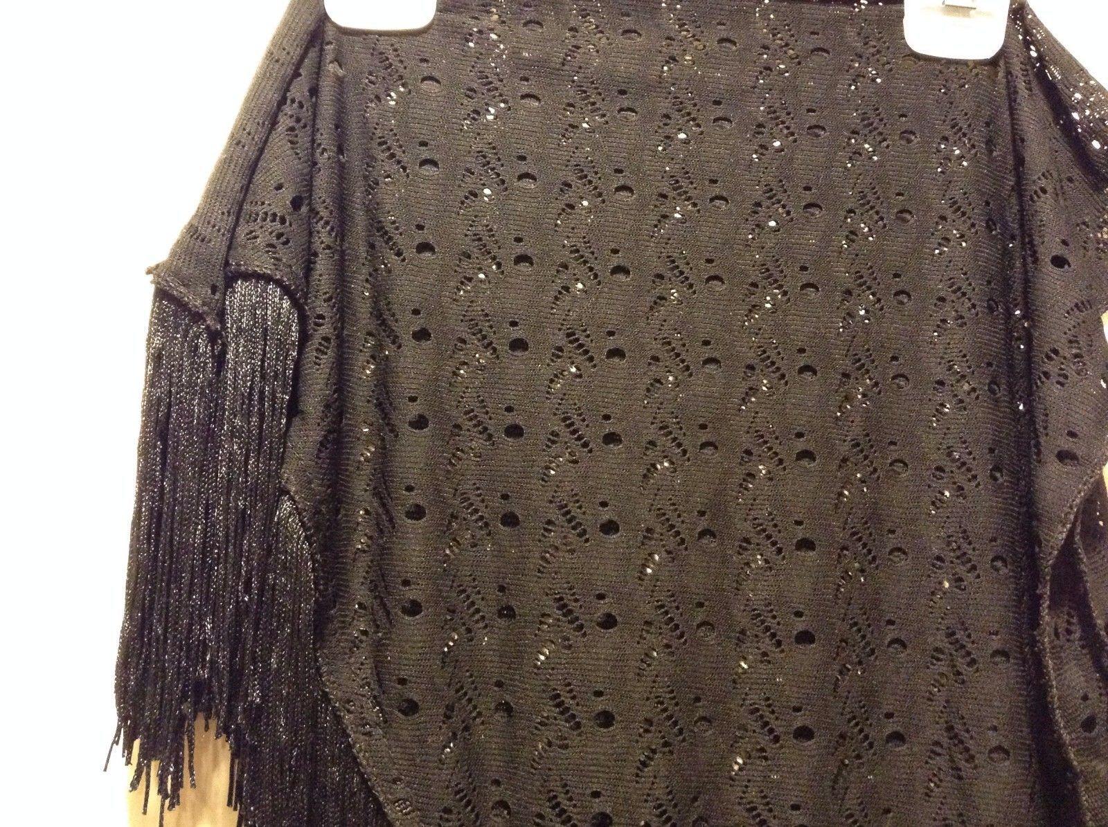 Howard's 100% Polyester Black Triangular Scarf With Fringe Trim