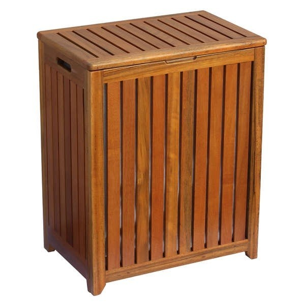 Wood Clothes Hamper With Lid Laundry Storage Country Brown Hampers