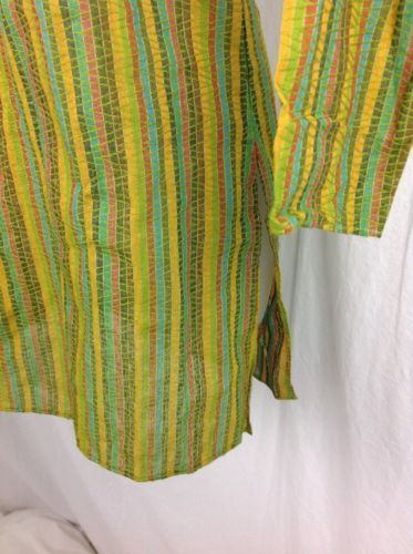 New Embroidered Cher Kurta Womens Sz 8 Small Multicolor Tunic Striped Epaulets
