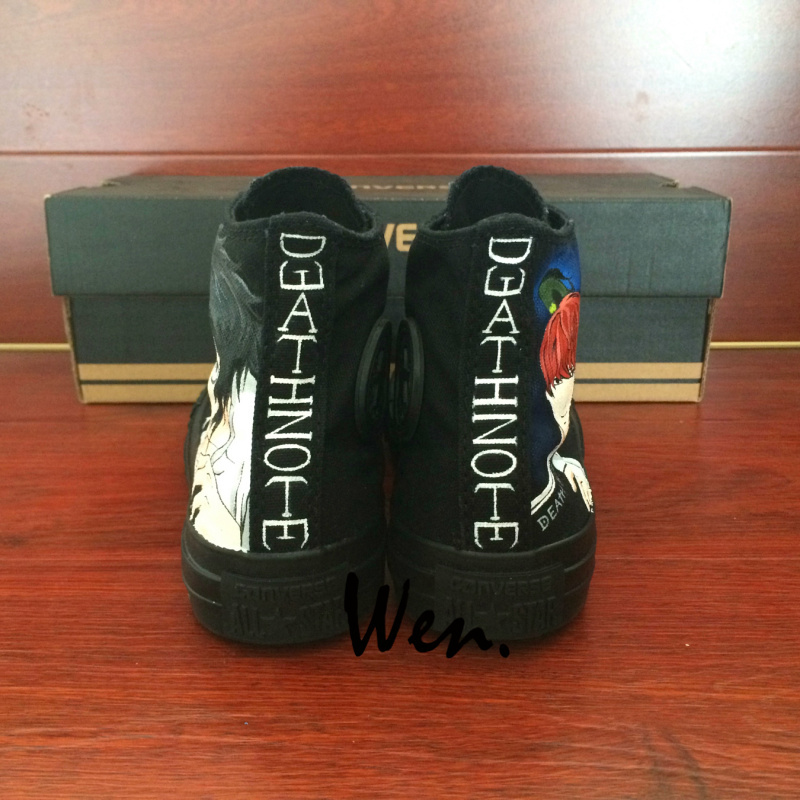 Sneakers All Black Converse All Star Anime Death Note Design Hand Painted Shoes
