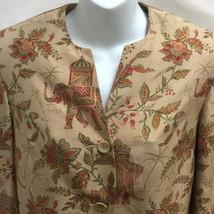 Talbots Jacket 4 Beige Green Pure Silk Elephants Floral Asian Indian Split Neck - $21.54