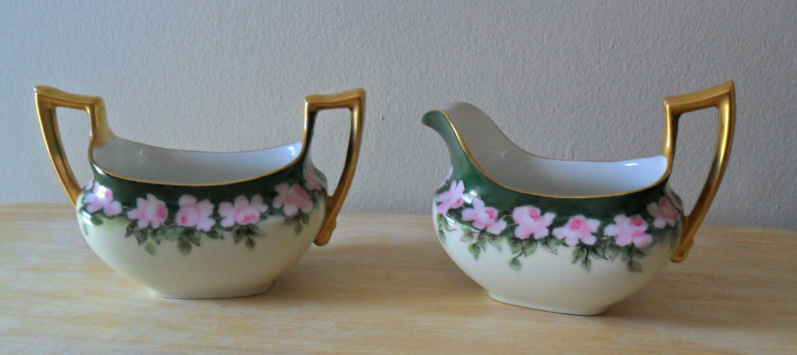 Antique Limoges France P&P Open Sugar Bowl and Creamer Hand Painted