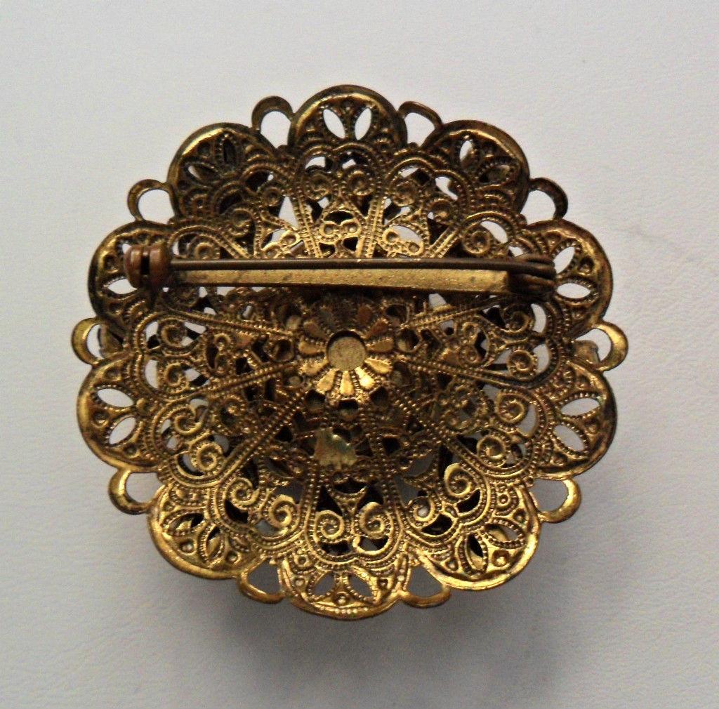 Vintage Black Cameo Goldtone Filligree Brooch Faux Pearls