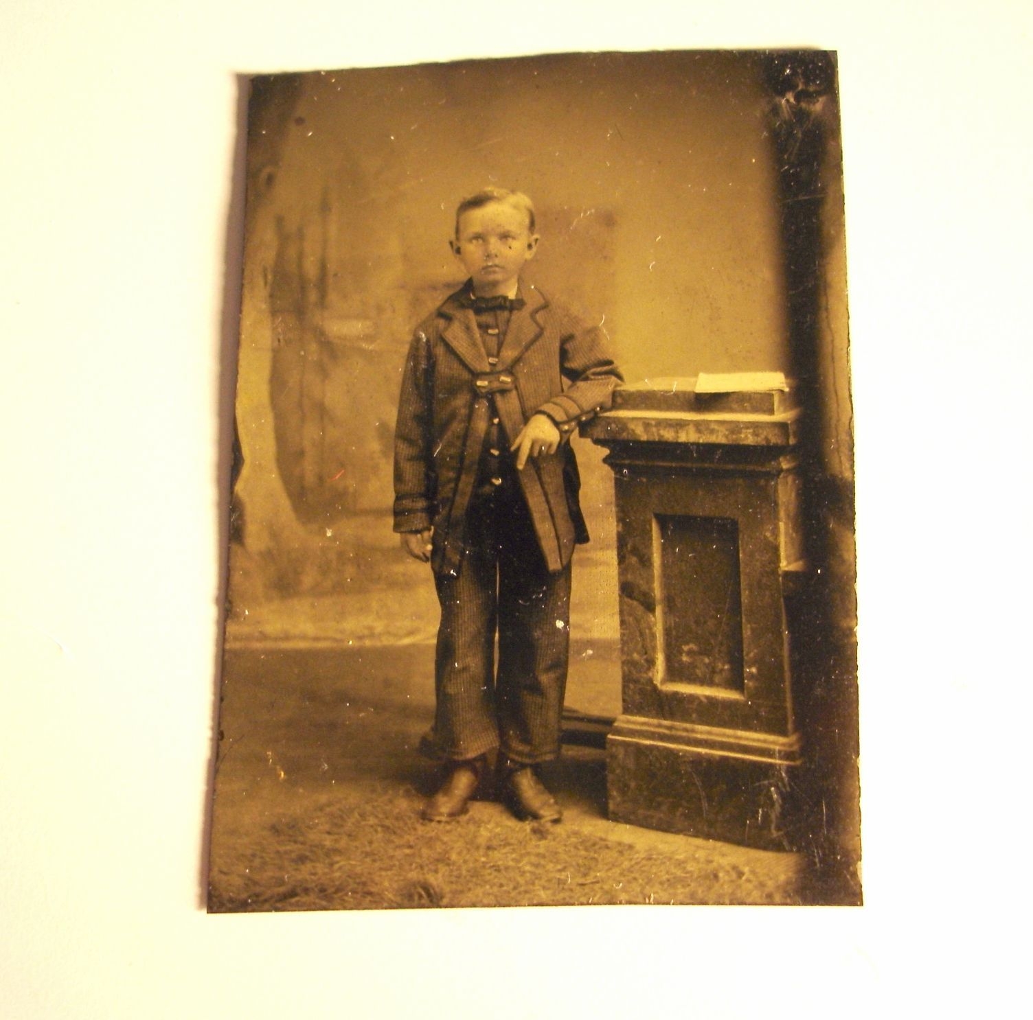 Antique Tintype Photograph Young Boy Standing Civil War Era