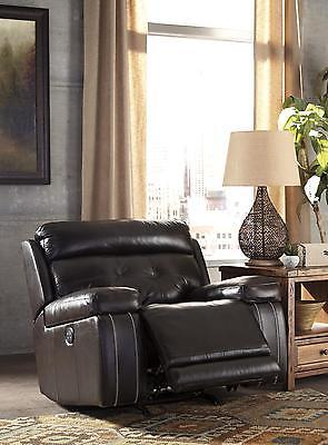 Ashley Graford Living Room Power Rocker Recliner in Walnut Contemporary Style