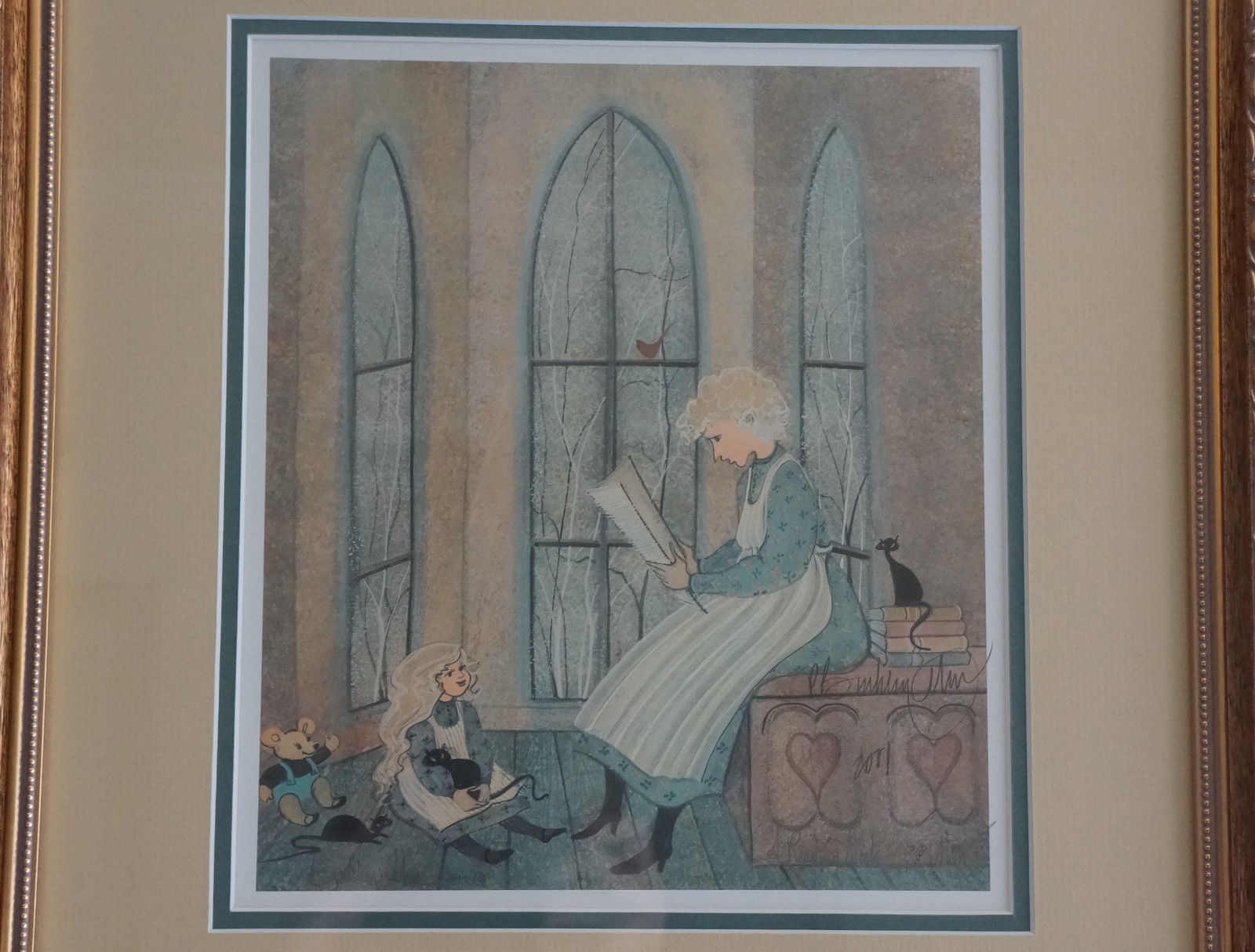 P Buckley Moss Framed Print A READING NOOK 16/1000 Issued 2001