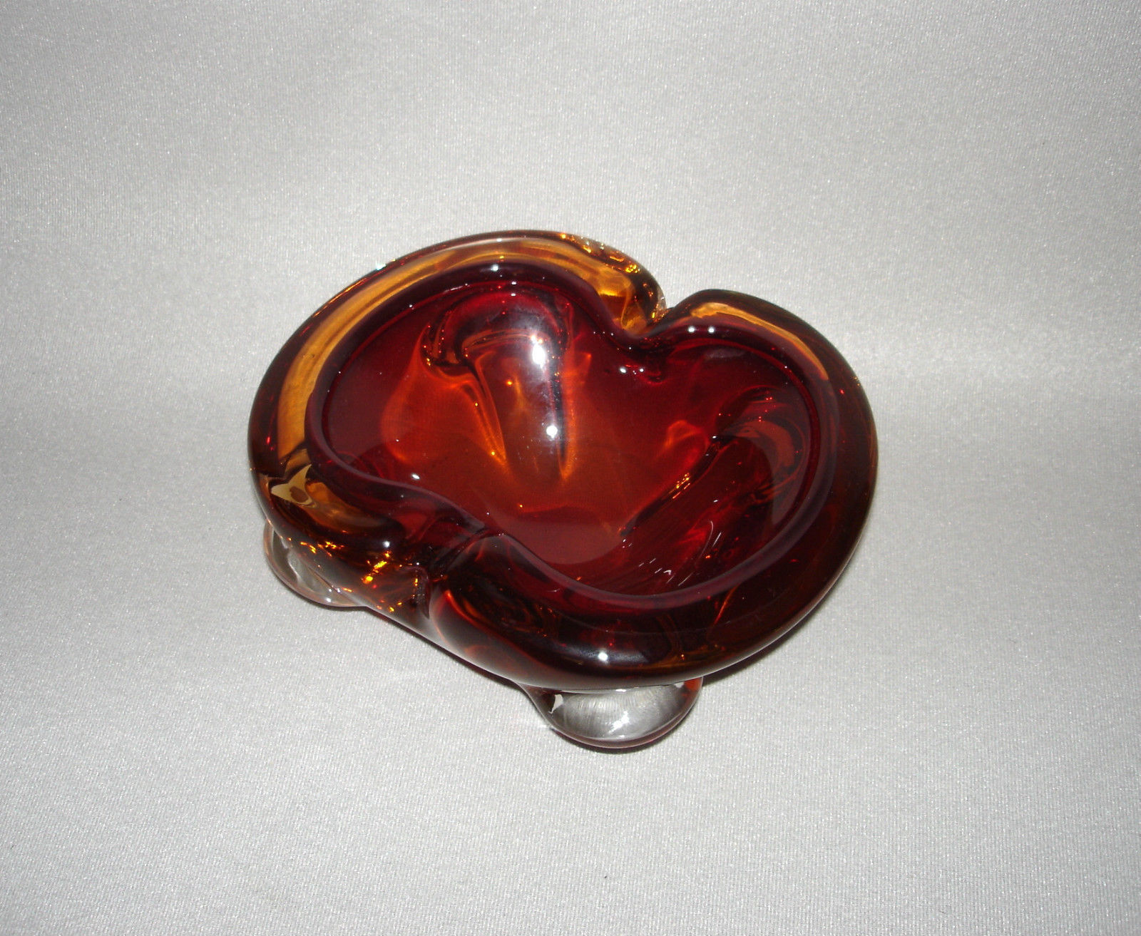 Vintage Italian Art Glass Cigar Ashtray Amber Glass