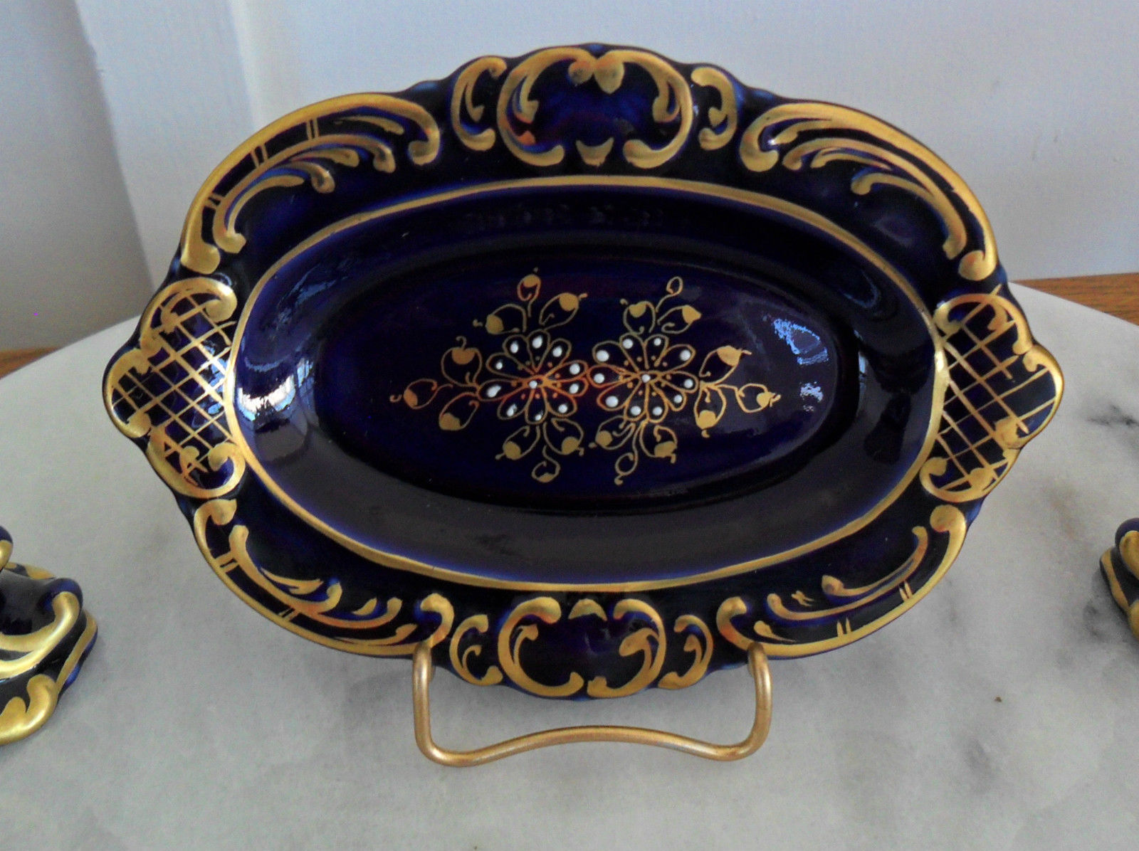 Antique Dresser Pin Tray With Matching Candlestick Holders Hand Painted