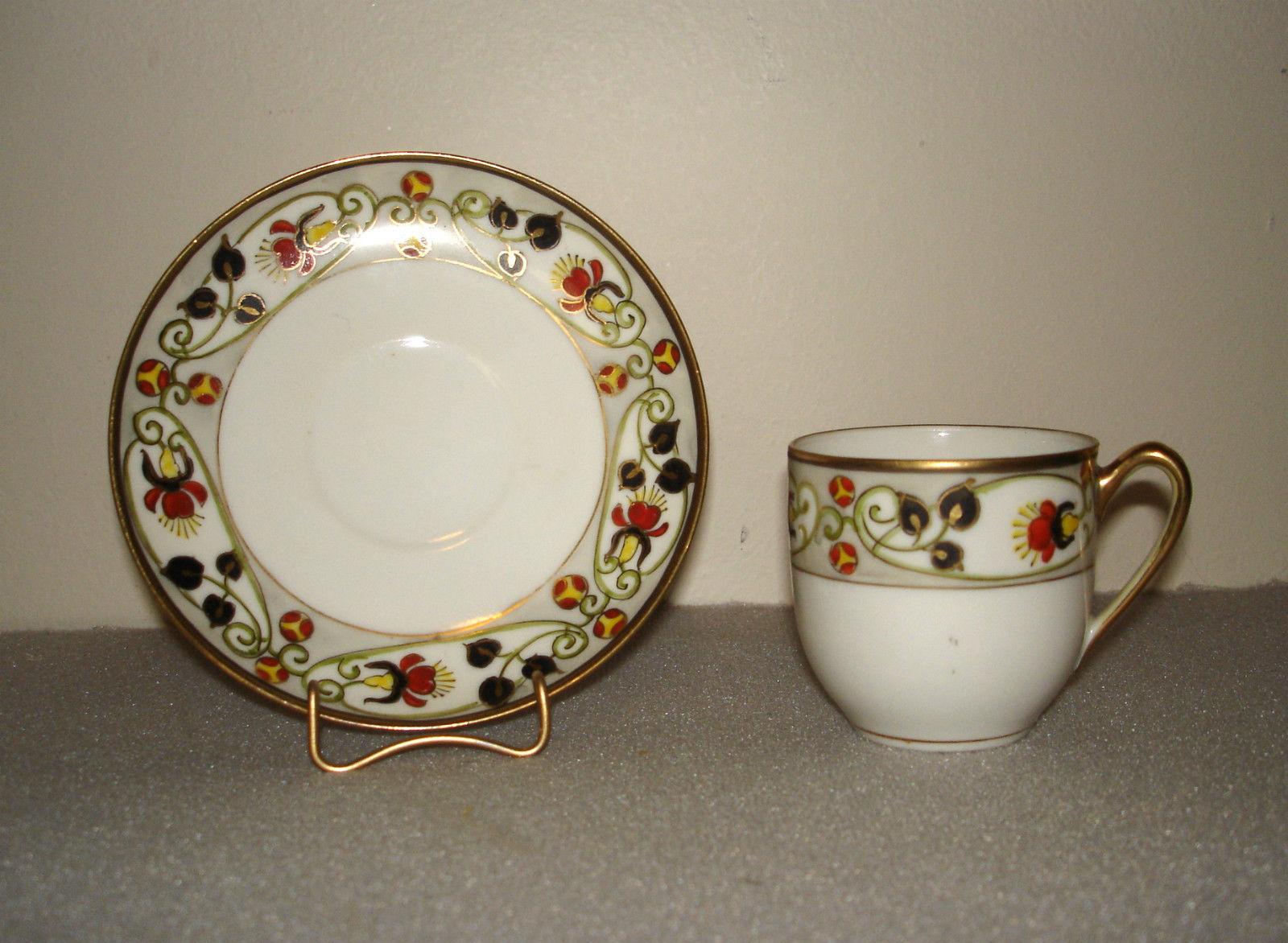 Vintage Nippon Hand Painted Porcelain Demitasse Cup & Saucer
