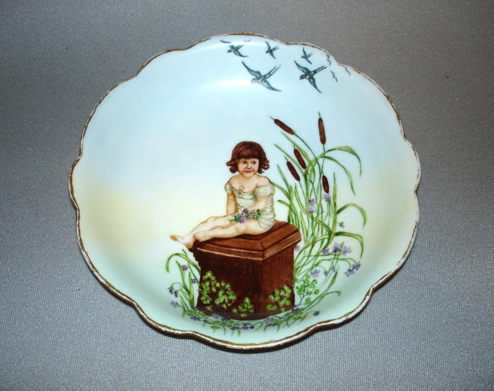 Antique Limoges Hand Painted Portrait Porcelain Bowl