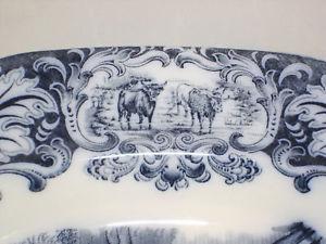 Antique Wedgwood Flow Blue Cow Platter