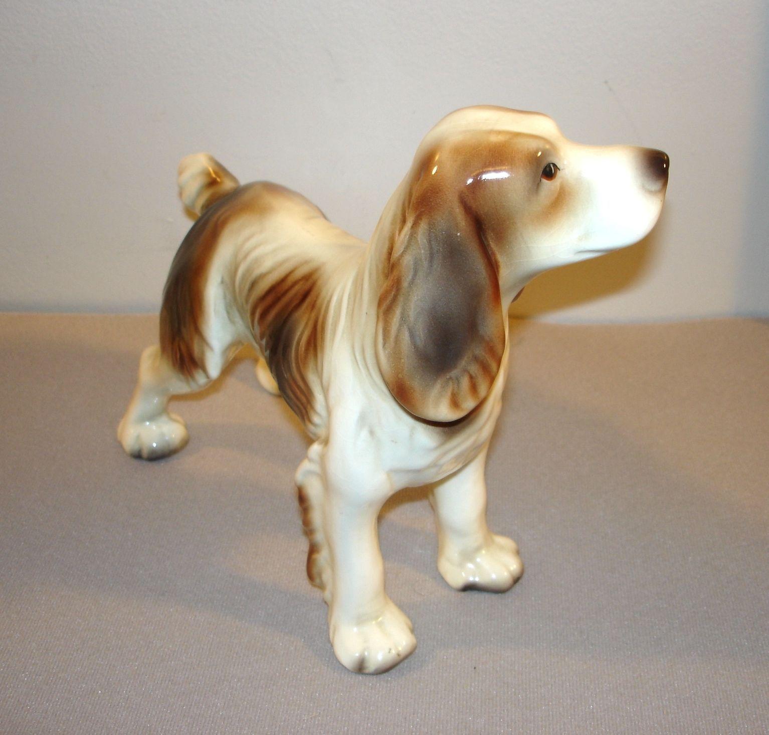 """Vintage 8"""" Goldscheider Spaniel Hunting Dog Standing Figurine Porcelain"""