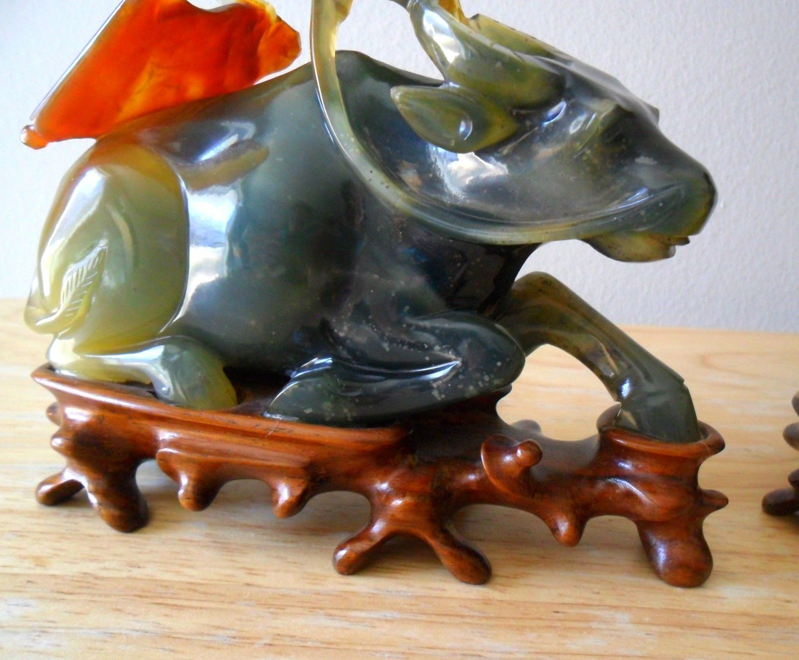 Jade 3 Color Hand Carved Chinese Water Buffalo with Chinese Man Riding
