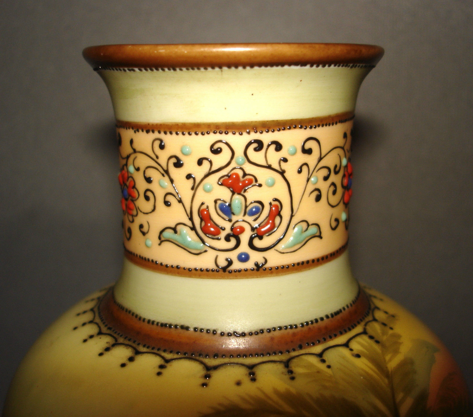 "Beautiful Nippon Moriage Vase Hand Painted Sailboat 10"""