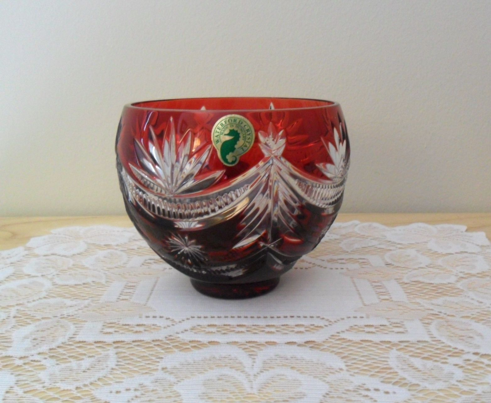 Waterford Ruby Red WINTER WONDERLAND Cut to Clear Footed Bowl