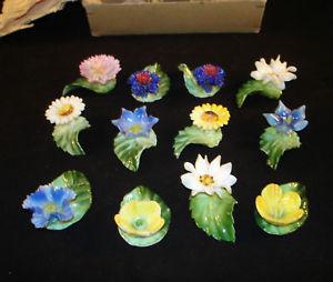 Rare Vintage Set of 12 Porcelain Floral Placecard Holders Original box