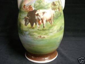 VICTORIA AUSTRIA Vase Cows Cattle Double Handled 19th Century