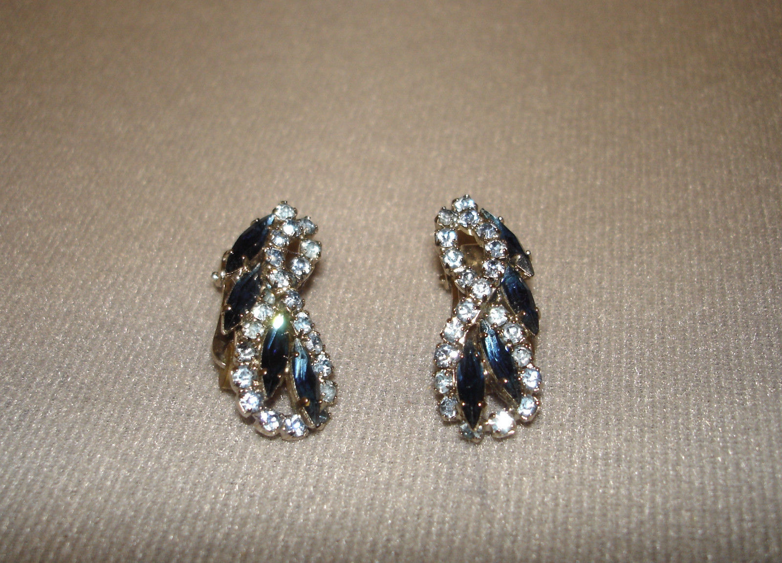 HOBE Signed Clip Rhinestone Earrings with Brooch - Unsigned