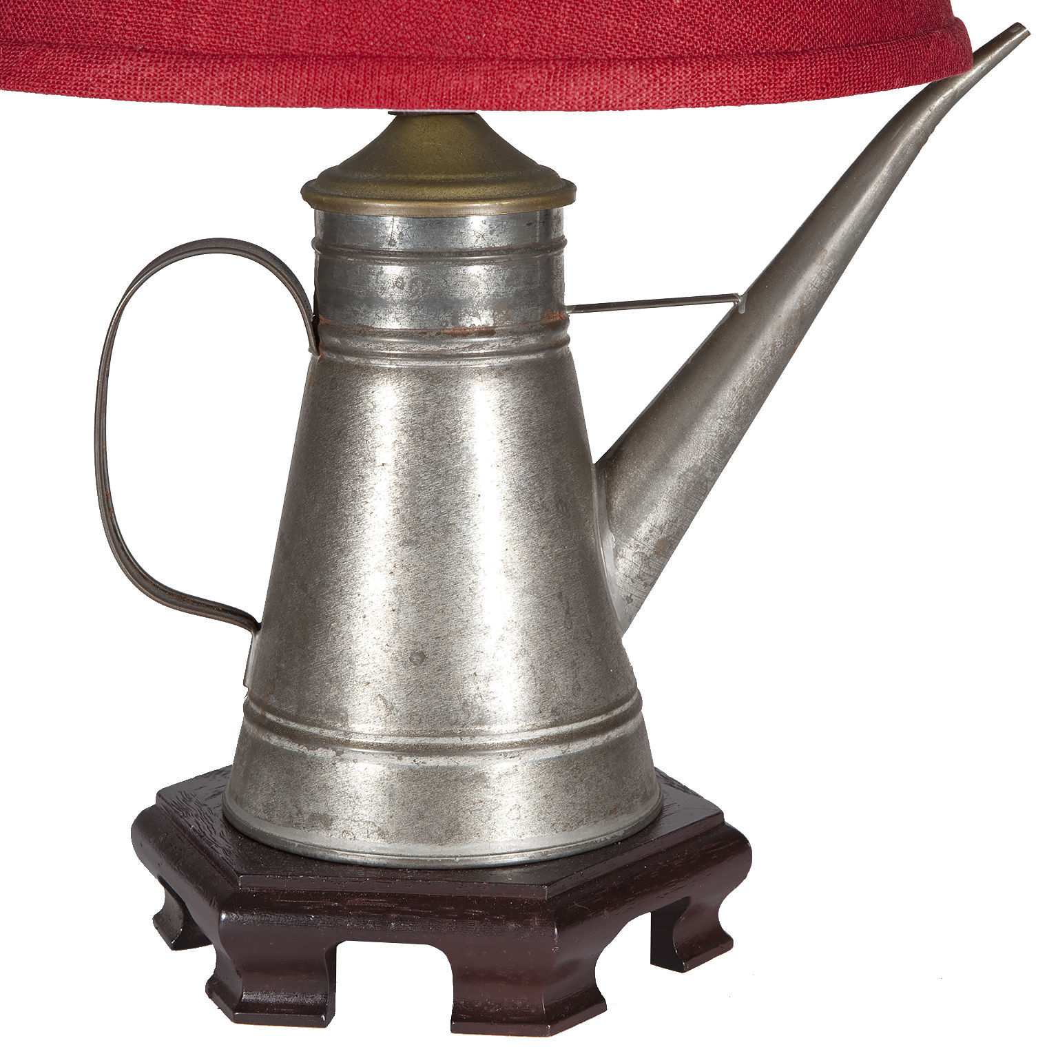 Vintage Silver Metal Spout Handled Pitcher Kitchen Lamp with New RedFabric Shade