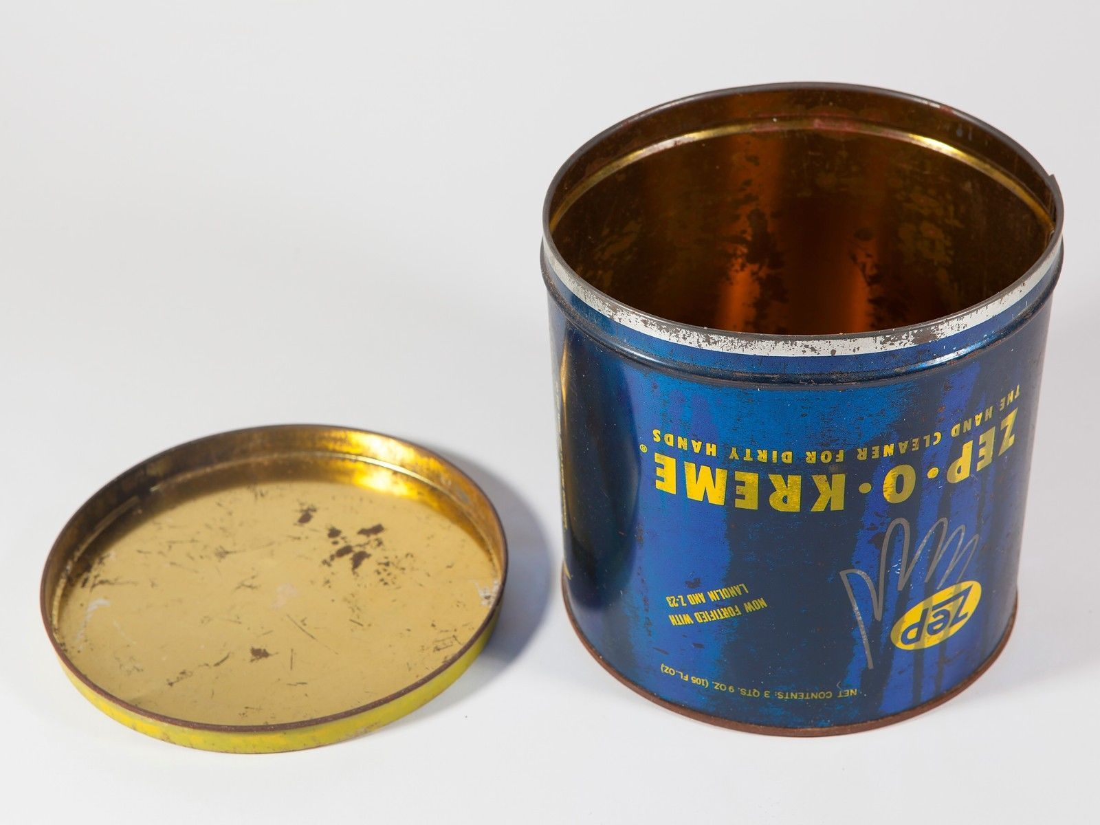 Vintage Blue Hand Soap Metal Tin with Yellow Writing - Free Shipping
